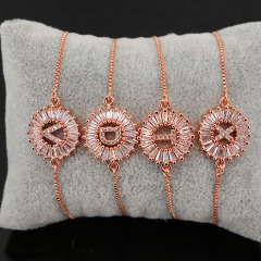 BC1163 Fashion design Wholesale Bling Crystal Rose gold plated Micro Pave Cz Initial Letter Charm Bracelet with Slide Chain