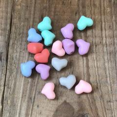 GP0937 100pcs/bag Wholesale small multicolour pastel matte acrylic heart shaped jewelry beads