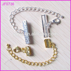 JF0736 Silver/gold plated ribbon end cap crimp beads,Band Clips Fasteners Clasp