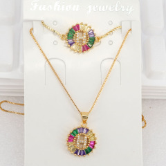 S11048 Bling Jewelry Rainbow Cubic Zirconia Alphabet Letter Pendant Necklaces and Bracelet A-Z Initial jewelry sets for Women