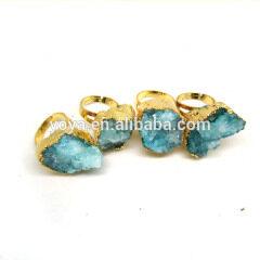 RG1072 Wonderful Sparkly Blue Green Crystal Quartz Druzy Cluster Ring