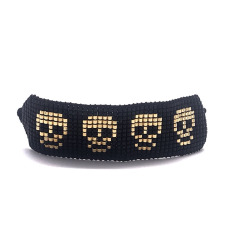 BG1022 Chic Unisex Handmade Miyuki Seed Loom Beaded Skull Skeleton Bracelets