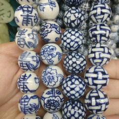 CC1806  Blue White Porcelain Tube Beads ,Hand Painted Ceramic Round Beads,Chinoiserie China Blue White Beads