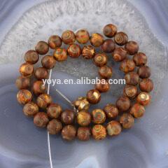 AB0412 Wholesale Brown Evil Eye Tibetan Agate Dzi Beads