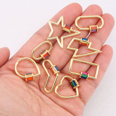 14K Gold Plated Rainbow Diamond Heart OVal Shape Screw Clasp, Colorful CZ Star lightning Bolt Lock Clasp Buckle Carabiners