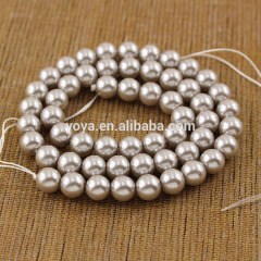GS1007 Qood quality Cheap Shiny Grey glass pearl beads ,imitation faux pearl beads strands