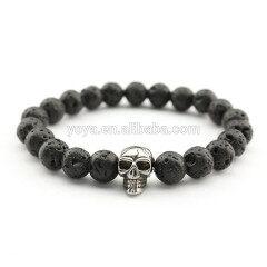 BN3027 fashion essential oil bead stainless steel skull mens elastic bracelet
