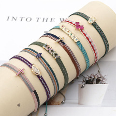 BC3002 Dainty Bohemian colorful handmade Embroidery friendship bracelets with CZ Micro Pave Eye Cross heart Charm