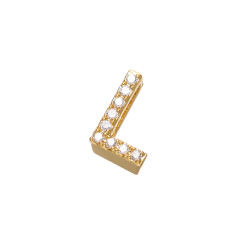 CZ8124 High Quality Small Thin Mini 18k Gold PlatedCZ Micro pave Small Alphabet Initial letter charm pendant