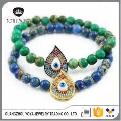 BRE1048 Fashion New CZ micro Diamond Evil Eye Jewish Bracelets,Imperial Jasper Bracelet With Evil Eye Charm