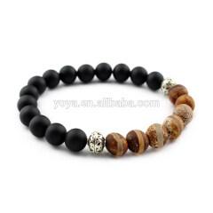 SS1612 black matte onyx & tibetan 925sterling sliver bracelet, sliver jewelry