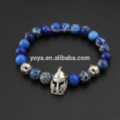 BRD0929 High quality Hot sale blue imperial jasper beaded silver gladiator helmet bracelet