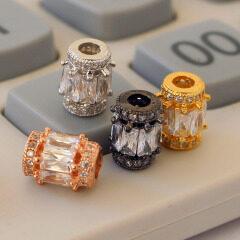 CZ6839 Beautiful cz micro pave diamond setting brass plated charm findings,cz drum shape spacer beads jewelry