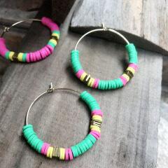 2019 Latest Vinyl Beads Earrings Designs For Girl Women,Fashion Perles Heishi Hoop Earrings Jewelry