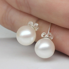8mm pearl earrings 925 sterling silver stud nature shell pearl earrings for gift