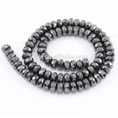 HB3004 Faceted Hematite Rondelle Beads,Hematite Faceted Abacus Beads,Faceted Rondelle Gemstone Beads