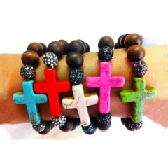 BR0078 Fashion natural stone beads turquoise cross bracelet