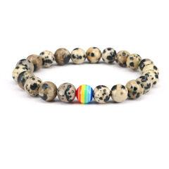 8mm dalmation jasper bracelet elastic beads jewelry