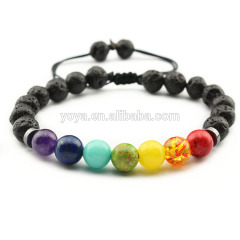 BRS1625 fashion chakra healing macrame bracelet,hand knot gemstone women bracelet