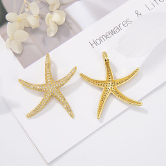 CZ8160 Fashion Micro Pave Starfish Charms Pendant ,Sea Star Pendant For Jewelry Necklace Findings