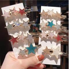 H1021  Hot Selling Tortoise Shell Star Hairpins,Enameled Hair Clips,Acrylic Gold Star Barrette for Girls
