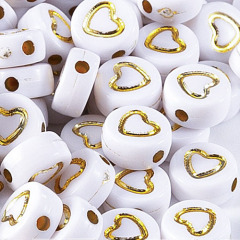 GP0942 Popular White  Flat plastic acrylic 4*7mm 500g Rainbow Enamel Heart round disc beads for jewelry DIY