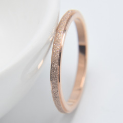 RS1002 Dainty Minimalist Matte Stainless Steel Women's Plain Band Stacking Simple Gold Rings Wedding Band Couple Lovers Ring