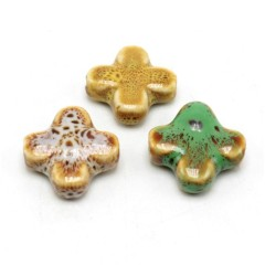 CC1841 Fashion Ceramic Cross Beads,Large Porcelain Cross Focal Beads for Prayer ZEN Necklace Jewelry Making
