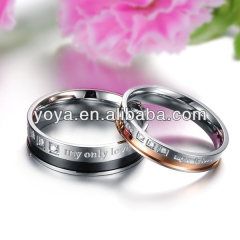 shinning crystal drill you are my only love written 316 stainless steel wedding ring