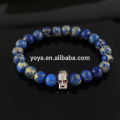 BRD0999 Hot sale blue sea sediment jasper beaded silver gladiator helmet men's bracelet