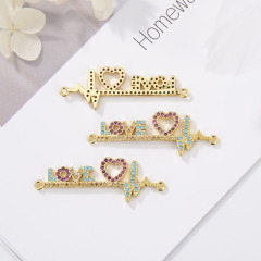 CZ8167 Personalized Customized Gold Micro Pave Bracelet Connector With Heart LOVE  Letter Shape For Women