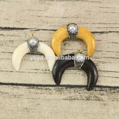 JF6938 Crytal & Pearl pave Cream Bone Moon Crescent Pendants