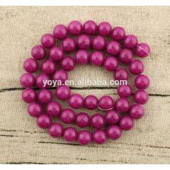 MJ1012 wholesale fuchsia smooth natural semiprecious stone Mashan jade round loose beads