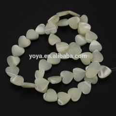 SP4038 White MOP shell heart beads,Mother of Pearl Heart Shaped Beads