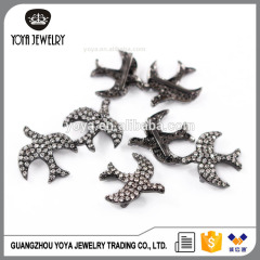 CZ6833 2017 Newest Design bird shape cz micro pave charm spacer beads for jewelry making