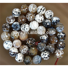 AB0002 Hot Sale Faceted Brown Coffee Fire Crackled Agate Beads