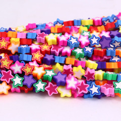 CC1873 Colorful Clay Jewelry Supplies Rainbow Polymer Clay Star Jewelry Spacer Beads