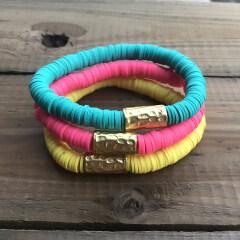 BP1002 Bohemian Elastic Heishi Beaded Gold Tube Bracelets, Vinyl Discs Polymer Clay Disc Beads Bracelets with Gold Hammered Tube