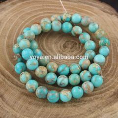 SM3003 Most Popular Natural light blue imperial jasper round beads
