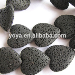 LB1020-1 Valentine Love Black heart shaped lava rocks beads