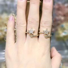 RM1131 Chic Dainty Bling Crystal Gold Plated CZ Micro Pave Sstar Rings for Women Ladies,Diamond Finger Rings