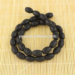 LB1024 volacanic rock drum shape black lava rice beads