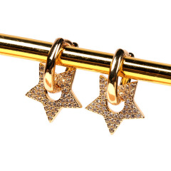 EC1664 Dainty 18K Gold plated Crystal CZ Micro Pave  Heart Star Circle Charm Huggie Earrings for Ladies