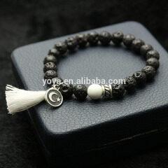 BN1030E charm gemstone lava tassel bracelet essential oil elastic women bracelet