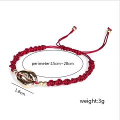 BE1003 Fashion Silver Gold Plated Cowire Shell Charm Macrame Bracelets