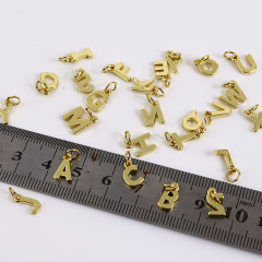JS1502 High Quality Small Thin Mini 18k Gold Plated Small Alphabet Initial letter charm pendant