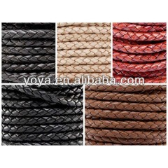 ST1025 Black brown red genuine braided leather cords