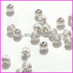 JF9215 Sterling Silver Corrugated Round Beads,925 Silver Spacer Beads,Sterling Silver Pumpkin Beads