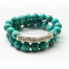 BRB1035 Fahion Turquoise Beaded Elastic Bar Bracelet Set.Turquoise Beads Stacking Bracelet