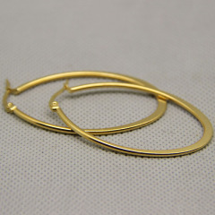 ES1029 High Quality Gold Plated Stainless Steel Heart Shape Hoop Earrings